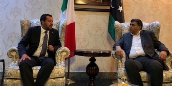 L'incontro tra Salvini e il ministro dell'Interno libico Abdulsalam Ashour Tripoli, 25 giugno 2018