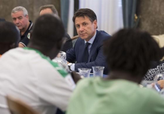 Il premier Giuseppe Conte a Foggia con una delegazione di migranti. 7 agosto 2018