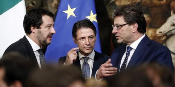 Matteo Salvini, Giuseppe Conte e Giancarlo Giorgetti