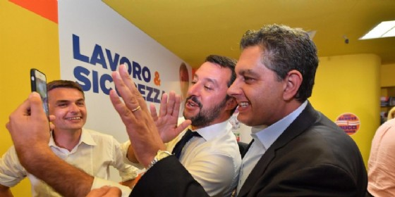 Matteo Salvini e Giovanni Toti festeggiano l'elezione del nuovo sindaco Marco Bucci, Genova, 26 giugno 2017