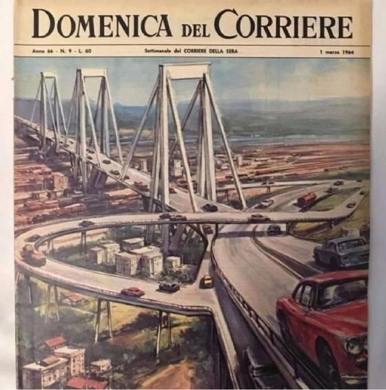 La copertina della Domenica del Corriere del 1 marzo 1964 realizzata per la posa dei piloni del ponte Morandi crollato a Genova