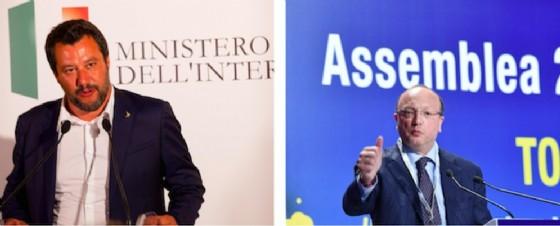 Il ministro dell'Interno Matteo Salvini e il presidente di Confindustria Vincenzo Boccia