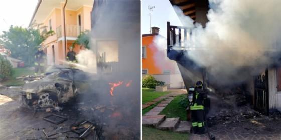 Paura a Pocenia per un'auto a fuoco in un garage. Le fiamme hanno raggiunto la casa