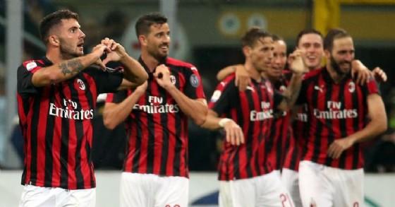 La gioia dei rossoneri dopo il gol di Cutrone