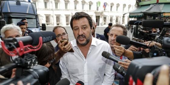 Matteo Salvini mentre lascia Palazzo Chigi