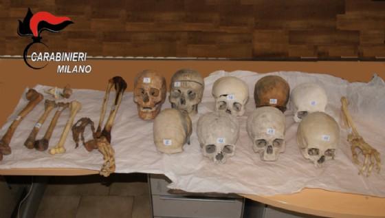Le ossa recuperate dai Carabinieri di Milano