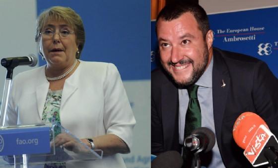Michelle Bachelet e Matteo Salvini