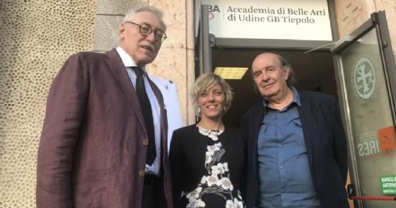 L'assessore regionale Barbara Zilli con il preside dell'Accademia di Belle Arti di Udine, Fausto Deganutti e il professor Stefano Zecchi