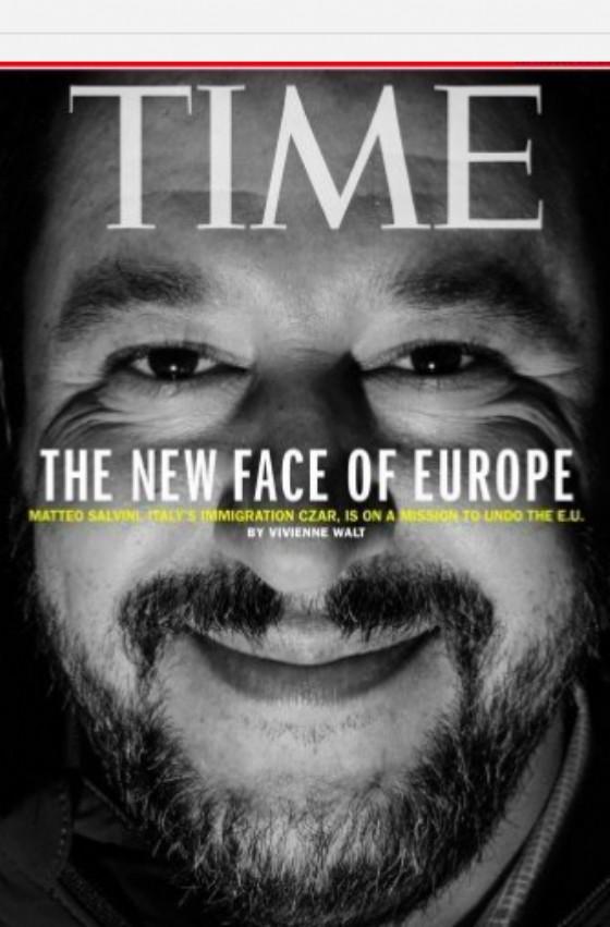 Il vicepremier e ministro dell'Interno Matteo Salvini sulla copertina del Time