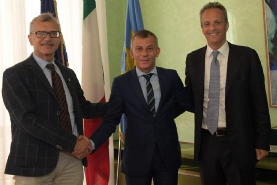 Presidente del Consiglio regionale Piero Mauro Zanin, vice presidente Francesco Russo e Ministro per la diaspora della Repubblica di Macedonia Edmond Ademi