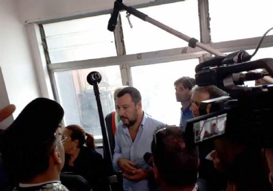 Il sopralluogo di Matteo Salvini nell'Hotel House, grattacielo multietnico di Porto Recanati. 16 settembre 2018