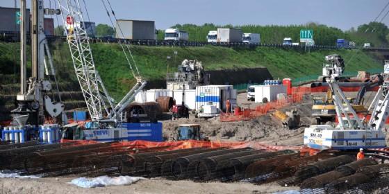 Cantiere per la terza corsia dell'autostrada A4