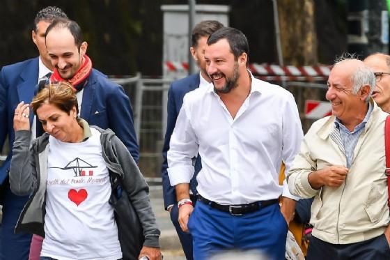 Il ministro dell'Interno, Matteo Salvini, a Genova