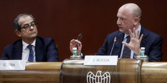 Giovanni Tria, ministro dell'Economia, con Vincenzo Boccia, presidente di Confindustria