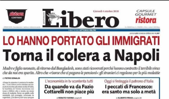 Il titolo di prima pagina di Libero sul colera a Napoli