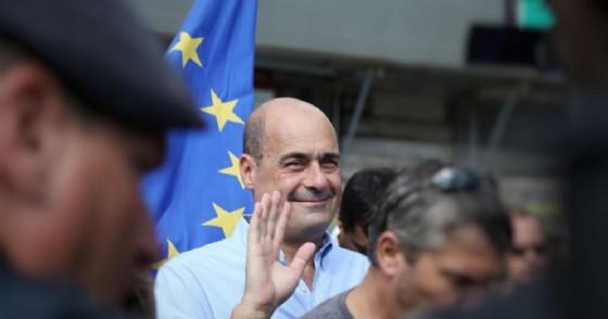 Il presidente della Regione Lazio, Nicola Zingaretti, in occasione della manifestazione del Pd in piazza del Popolo