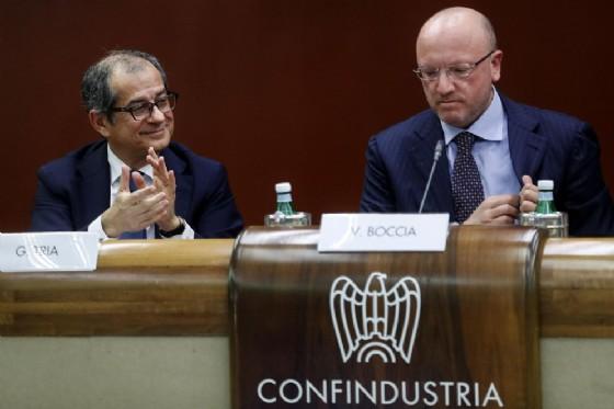 Giovanni Tria, ministro dell'Economia e delle Finanze, con Vincenzo Boccia, presidente di Confindustria