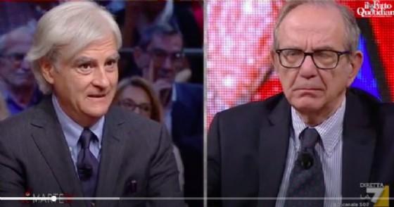 L'economista Antonio Maria Rinaldi e l'ex ministro dell'Economia Pier Carlo Padoan