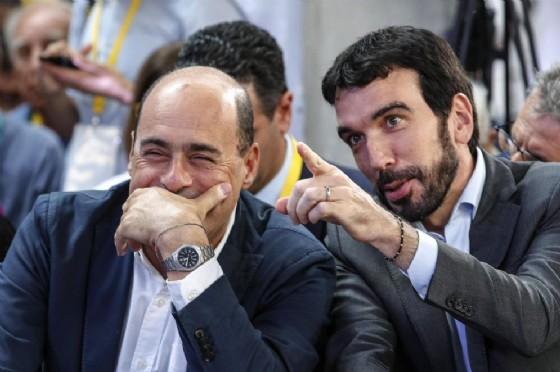 Nicola Zingaretti e Maurizio Martina alla ex Dogana durante 'Piazza grande'