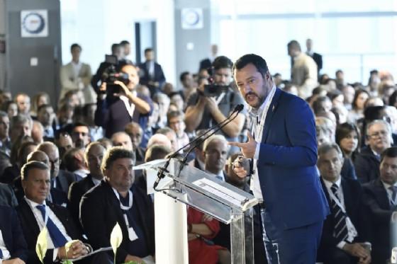 Il vicepremier e ministro dell'Interno Matteo Salvini durante l'assemblea nazionale di Confimi Industria all'Autodromo di Monza