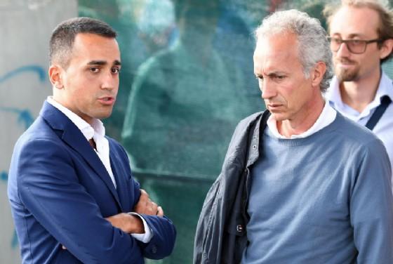 Il direttore del Fatto Quotidiano Marco Travaglio con il vicepremier e ministro dello Sviuppo economico Luigi Di Maio