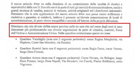 La richiesta di estensione dei divieti della Circoscrizione 7, durante le osservazioni per l'articolo 44 Ter
