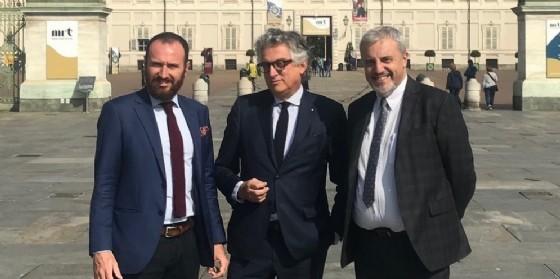 A partire da sinistra Christian Zegna - Admin di BTREES, Giovanni Radis - Presidente di Réseau Entreprendre Piemonte e Massimo Mereta - Direttore di Fondazione Michelin Sviluppo