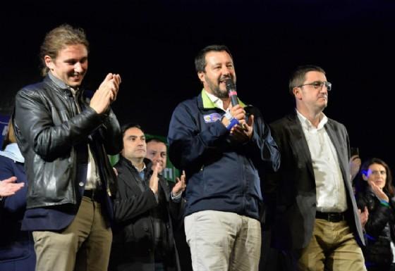Il vicepremier Matteo Salvini a Trento con Mirko Bisesti, segretario per la Lega in Trentino, e Maurizio Fugatti, candidato presidente alle elezioni provinciali di Trento