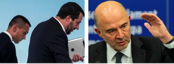 I due vicepremier Matteo Salvini e Luigi Di Maio e il commissario Ue Pierre Moscovici