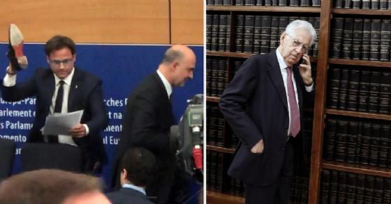 Il 'gesto della scarpa' di Angelo Ciocca. A sinistra Mario Monti