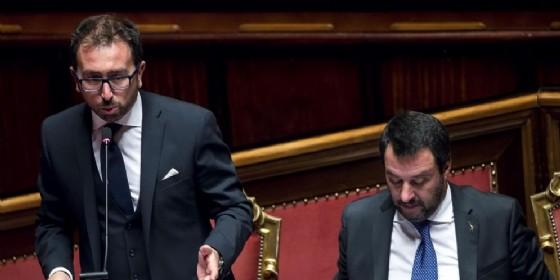 Il Guardasigilli Alfonso Bonafede con il ministro dell'Interno Matteo Salvini