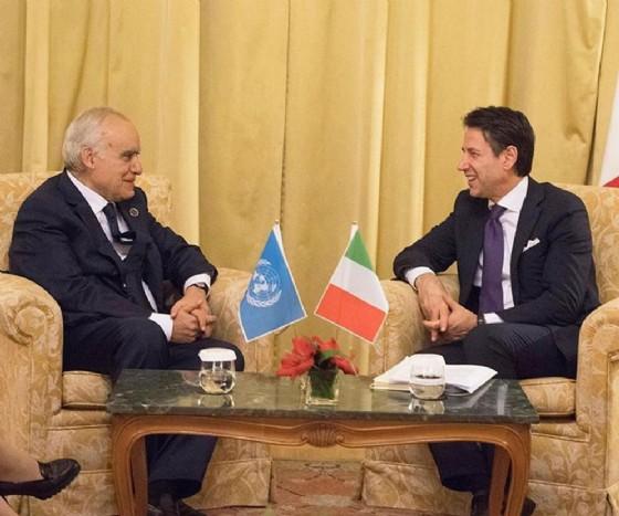 Un momento del bilaterale tra il presidente del Consiglio Giuseppe Conte e l'inviato speciale dell'Onu per la Libia, Ghassam Salamè