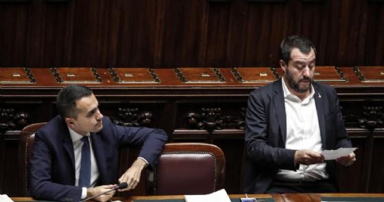 II vicepremier e ministro del Lavoro e dello Sviluppo economico Luigi Di Maio e il vicepremier e ministro dell'Interno Matteo Salvini alla Camera