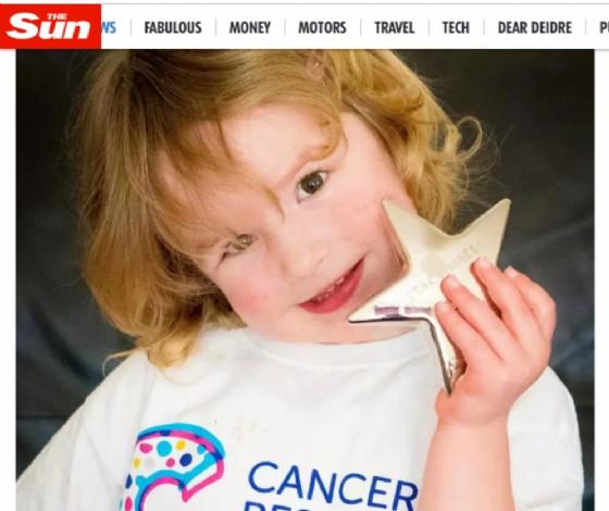 Izzy dopo il premio ottenuto dal Cancer Research