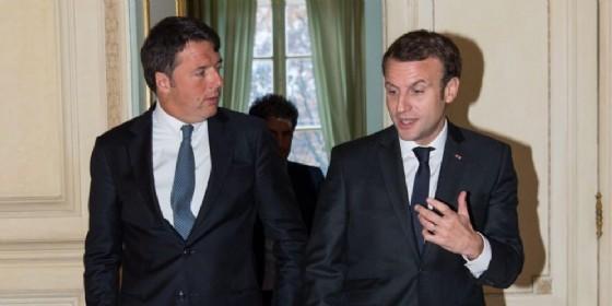 Matteo Renzi con Emmanuel Macron