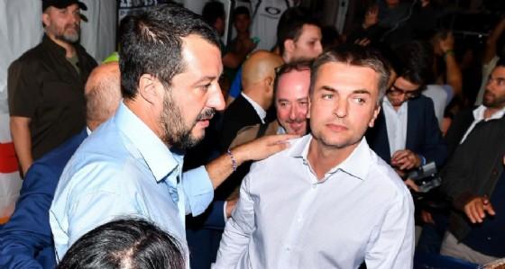 Il segretario ligure della Lega e viceministro delle Infrastrutture, Edoardo Rixi, con il ministro dell'Interno e vicepremier, Matteo Salvini
