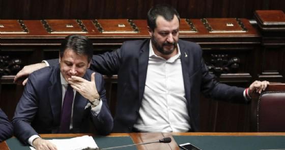 Il presidente del Consiglio Giuseppe Conte e il ministro dell'Interno Matteo Salvini alla Camera