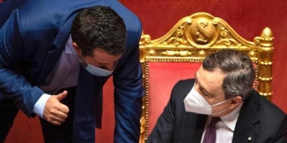 Il leader della Lega, Matteo Salvini con il Presidente del Consiglio, Mario Draghi