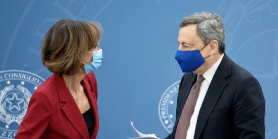Marta Cartabia con il Presidente del Consiglio, Mario Draghi