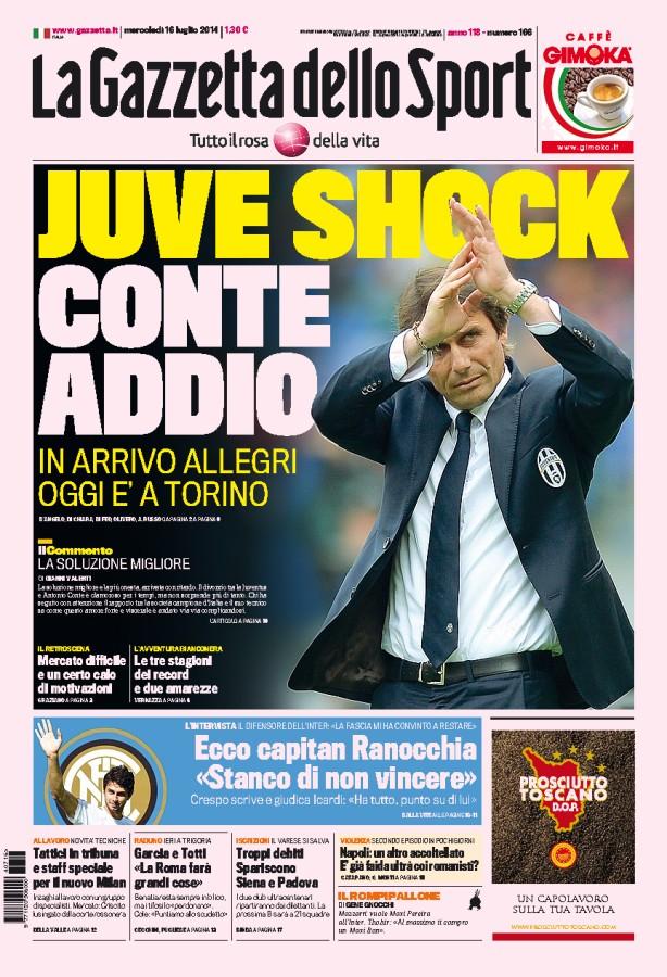 La Gazzetta dello Sport «shoccata»