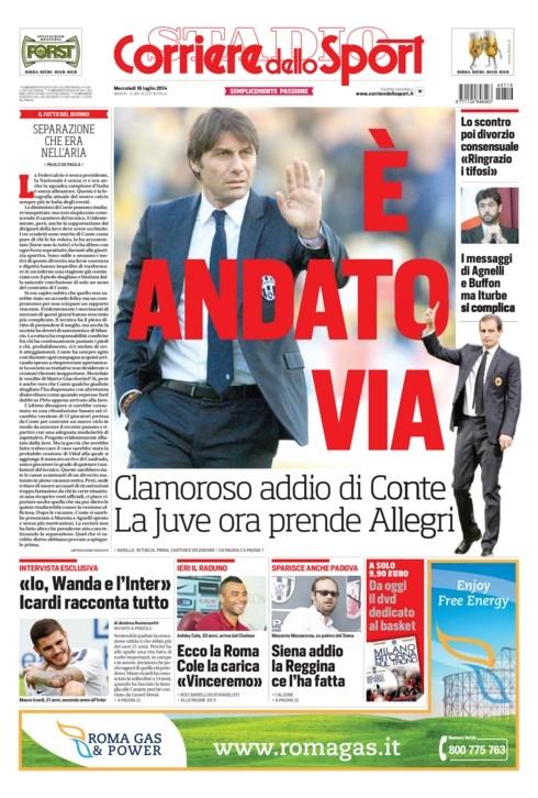 Corriere dello Sport quasi rattristato: «È andato via»