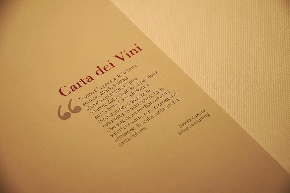 Dettaglio della carta dei vini