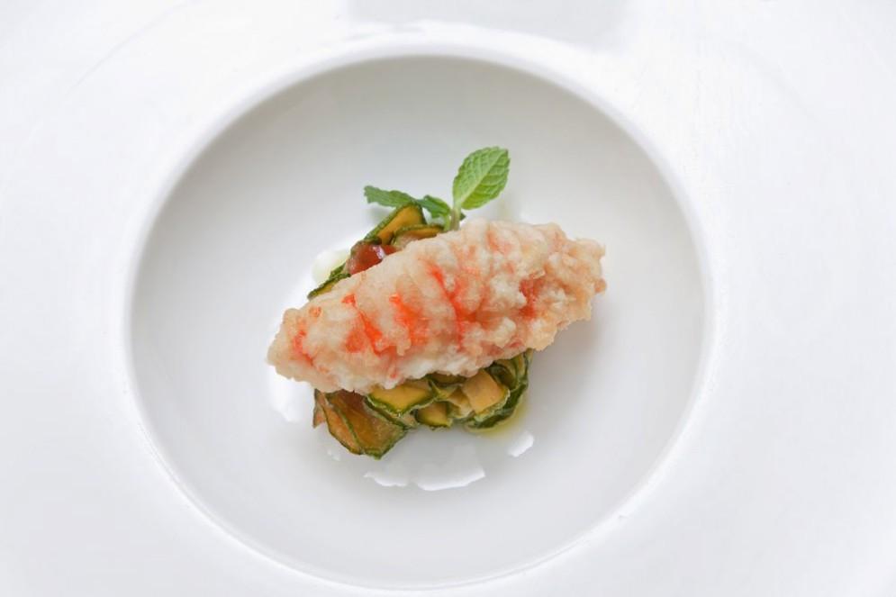 Scampo in tempura con zucchine