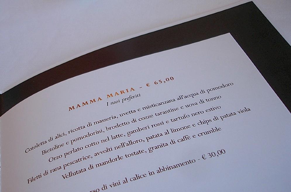 Il menù dei classici di Mamma Maria