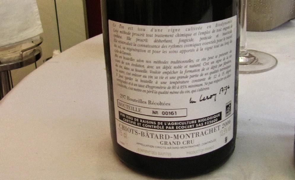 Il Criots Batard Montrachet 2006 del Domaine D'Auvenay, prodotto in circa 300 esemplari l'anno