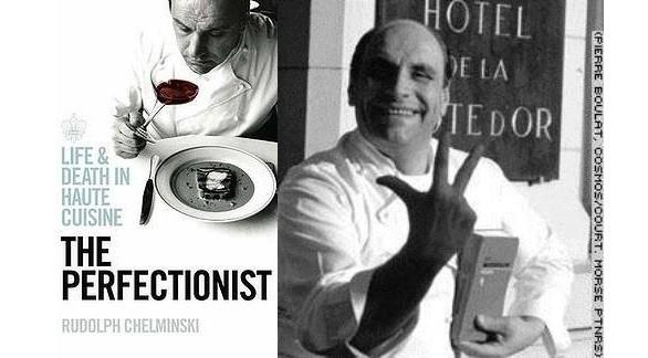 La copertina del libro in versione originale e Loiseau con in mano la Guida che lo consacra tra i più grandi chef di sempre