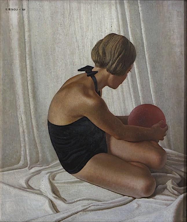 Santo Bidoli | Sirenetta (Bambina con palla), 1935 | Olio su tela, 88 x 76 cm | Assicurazioni Generali S.P.A.