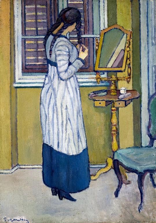 Piero Marussig | Donna che si pettina (donna allo specchio) | Olio su tela, 80 x 60 cm |Collezione privata