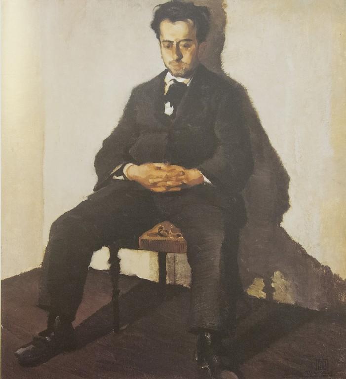 Giannino Marchig | Il filosofo (l'amico Popper, vegetariano), 1919 | Olio su tela, 110 x 100 cm | Collezione privata