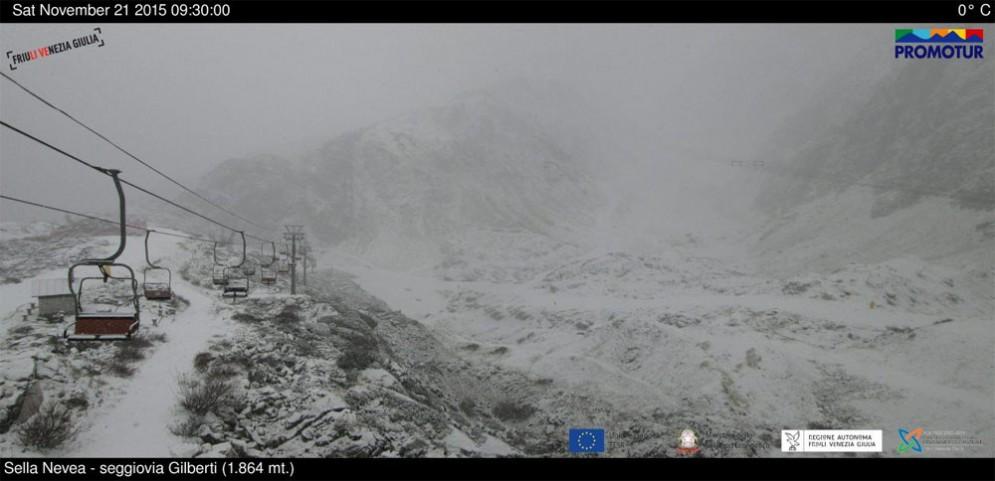 Nevica anche a Sella Nevea